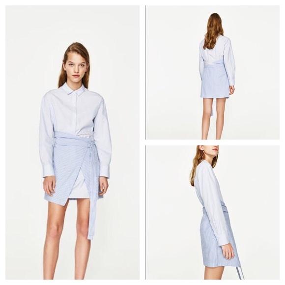 872e36186ab Zara TRAFALUC Pinstripe Shirt Dress WRAP with Knot